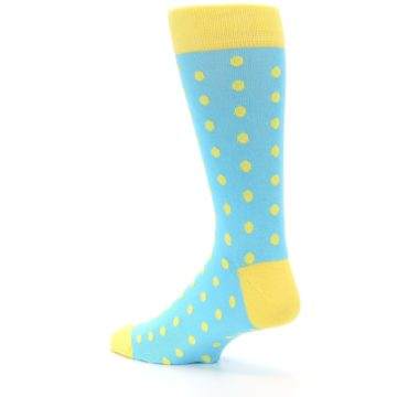 Image of Pool Blue Yellow Polka Dots Men's Dress Socks (side-2-back-14)