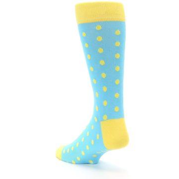 Image of Pool Blue Yellow Polka Dots Men's Dress Socks (side-2-back-15)