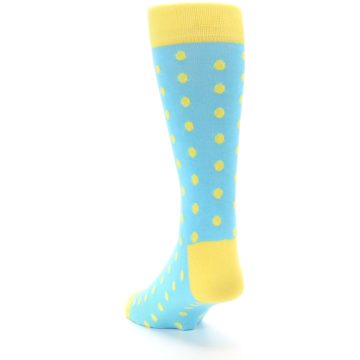 Image of Pool Blue Yellow Polka Dots Men's Dress Socks (side-2-back-16)