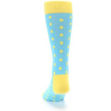 Image of Pool Blue Yellow Polka Dots Men's Dress Socks (back-17)