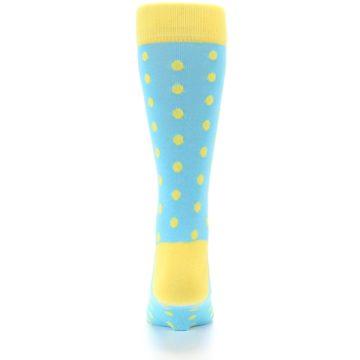 Image of Pool Blue Yellow Polka Dots Men's Dress Socks (back-18)