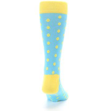 Image of Pool Blue Yellow Polka Dots Men's Dress Socks (back-19)