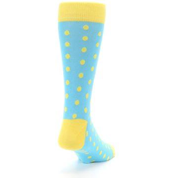 Image of Pool Blue Yellow Polka Dots Men's Dress Socks (side-1-back-20)