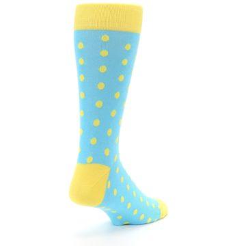 Image of Pool Blue Yellow Polka Dots Men's Dress Socks (side-1-back-21)