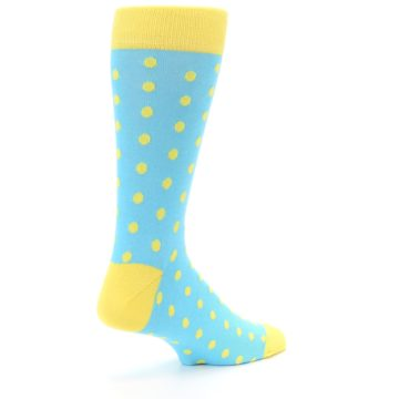 Image of Pool Blue Yellow Polka Dots Men's Dress Socks (side-1-back-22)