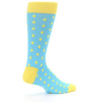 Image of Pool Blue Yellow Polka Dots Men's Dress Socks (side-1-23)