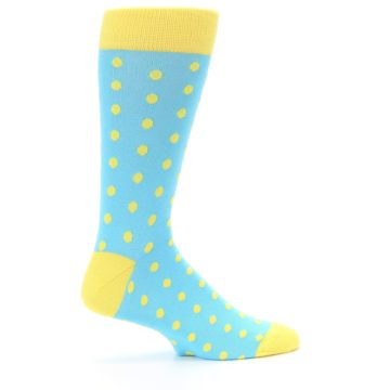 Image of Pool Blue Yellow Polka Dots Men's Dress Socks (side-1-24)
