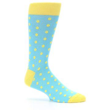 Image of Pool Blue Yellow Polka Dots Men's Dress Socks (side-1-25)