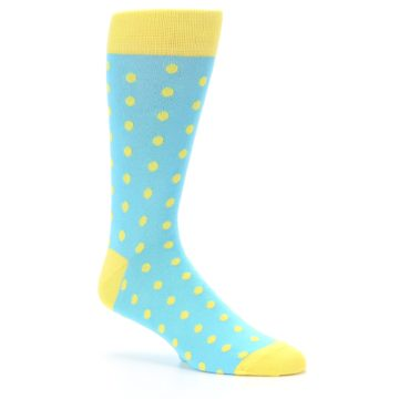 Image of Pool Blue Yellow Polka Dots Men's Dress Socks (side-1-26)