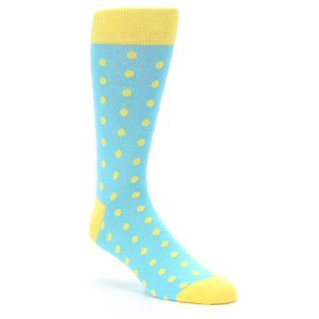 Image of Pool Blue Yellow Polka Dots Men's Dress Socks (side-1-27)
