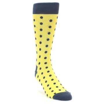Image of Yellow Polka Dots Men's Dress Socks (side-1-front-02)