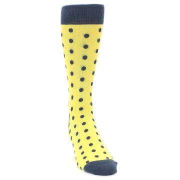 Image of Yellow Polka Dots Men's Dress Socks (side-1-front-03)