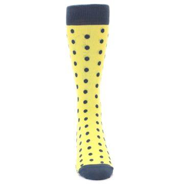 Image of Yellow Polka Dots Men's Dress Socks (front-04)