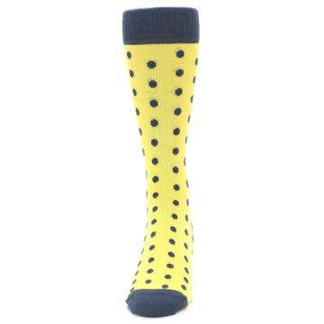 Image of Yellow Polka Dots Men's Dress Socks (front-05)