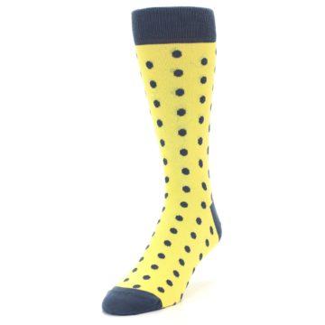 Image of Yellow Polka Dots Men's Dress Socks (side-2-front-07)
