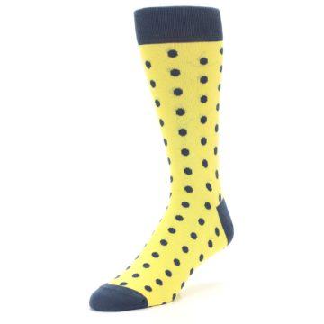 Image of Yellow Polka Dots Men's Dress Socks (side-2-front-08)