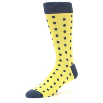 Image of Yellow Polka Dots Men's Dress Socks (side-2-09)