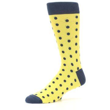 Image of Yellow Polka Dots Men's Dress Socks (side-2-10)