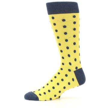 Image of Yellow Polka Dots Men's Dress Socks (side-2-11)