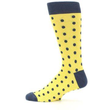 Image of Yellow Polka Dots Men's Dress Socks (side-2-12)
