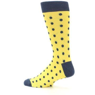 Image of Yellow Polka Dots Men's Dress Socks (side-2-13)