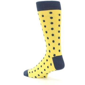 Image of Yellow Polka Dots Men's Dress Socks (side-2-back-14)