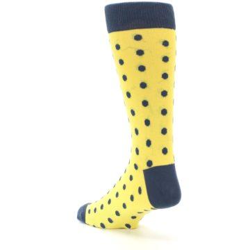 Image of Yellow Polka Dots Men's Dress Socks (side-2-back-15)
