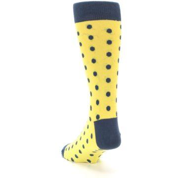 Image of Yellow Polka Dots Men's Dress Socks (side-2-back-16)