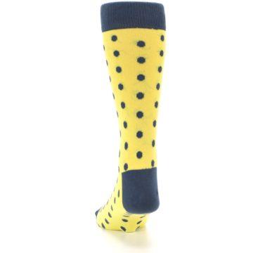 Image of Yellow Polka Dots Men's Dress Socks (back-17)
