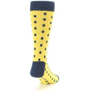 Image of Yellow Polka Dots Men's Dress Socks (side-1-back-20)