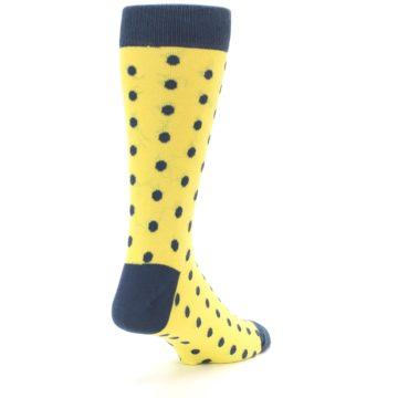 Image of Yellow Polka Dots Men's Dress Socks (side-1-back-21)