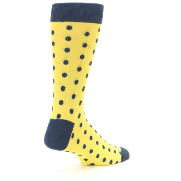 Image of Yellow Polka Dots Men's Dress Socks (side-1-back-22)