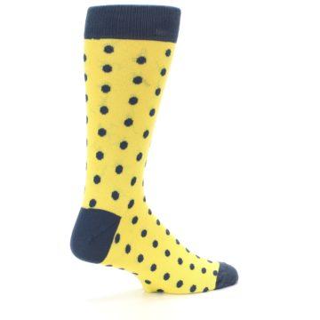 Image of Yellow Polka Dots Men's Dress Socks (side-1-23)