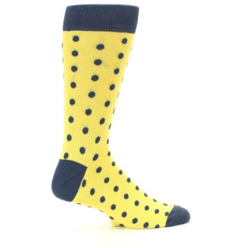 Image of Yellow Polka Dots Men's Dress Socks (side-1-24)