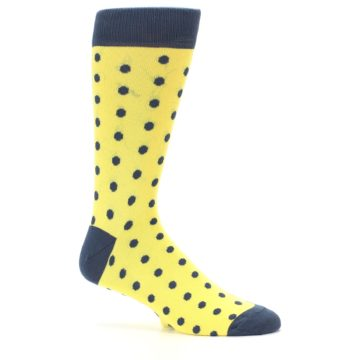 Image of Yellow Polka Dots Men's Dress Socks (side-1-25)