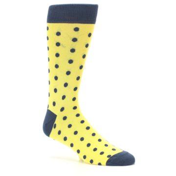 Image of Yellow Polka Dots Men's Dress Socks (side-1-26)