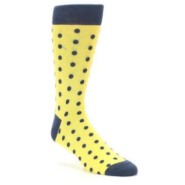 Image of Yellow Polka Dots Men's Dress Socks (side-1-27)