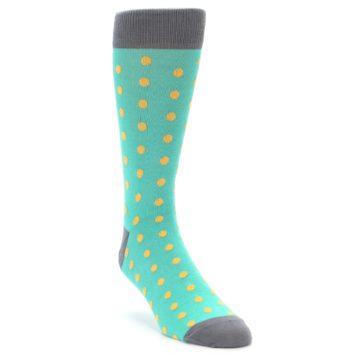 Image of Teal Orange Polka Dots Men's Dress Socks (side-1-front-02)