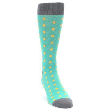 Image of Teal Orange Polka Dots Men's Dress Socks (side-1-front-03)