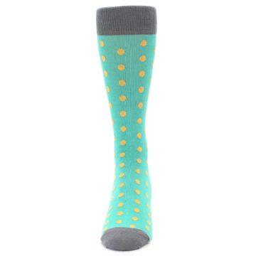 Image of Teal Orange Polka Dots Men's Dress Socks (front-05)