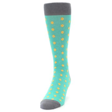 Image of Teal Orange Polka Dots Men's Dress Socks (side-2-front-06)