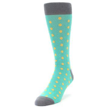 Image of Teal Orange Polka Dots Men's Dress Socks (side-2-front-07)