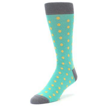 Image of Teal Orange Polka Dots Men's Dress Socks (side-2-front-08)