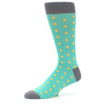 Image of Teal Orange Polka Dots Men's Dress Socks (side-2-10)
