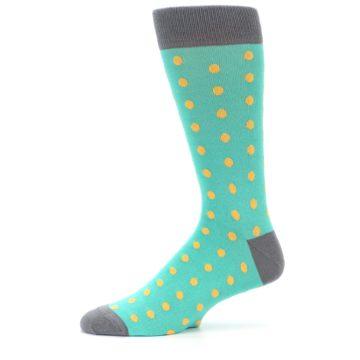 Image of Teal Orange Polka Dots Men's Dress Socks (side-2-11)