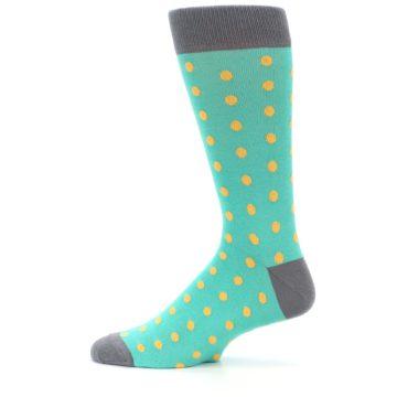 Image of Teal Orange Polka Dots Men's Dress Socks (side-2-12)