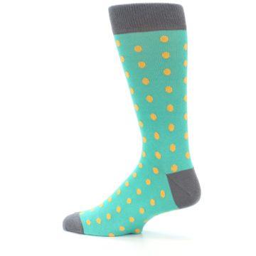 Image of Teal Orange Polka Dots Men's Dress Socks (side-2-13)