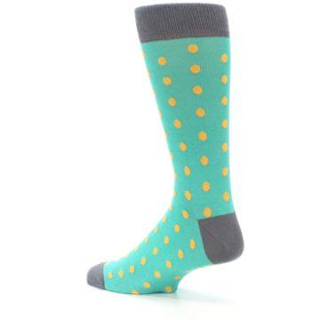 Image of Teal Orange Polka Dots Men's Dress Socks (side-2-back-14)