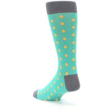 Image of Teal Orange Polka Dots Men's Dress Socks (side-2-back-15)