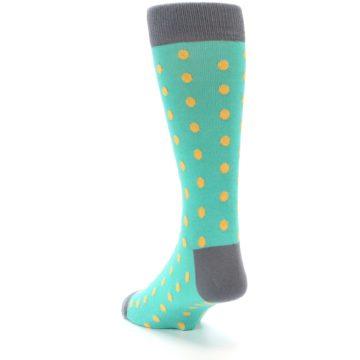 Image of Teal Orange Polka Dots Men's Dress Socks (side-2-back-16)